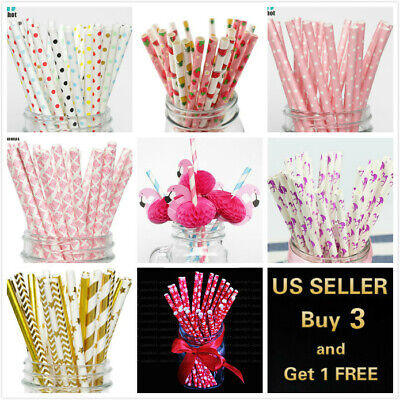 Bridal Shower Paper (25Pcs Paper Straws Flamingo Birthday Wedding Party Baby)