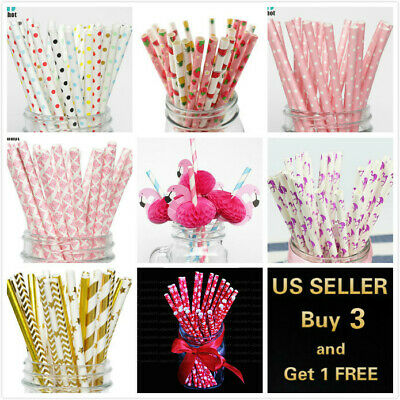 25Pcs Paper Straws Flamingo Birthday Wedding Party Baby - Wedding Paper