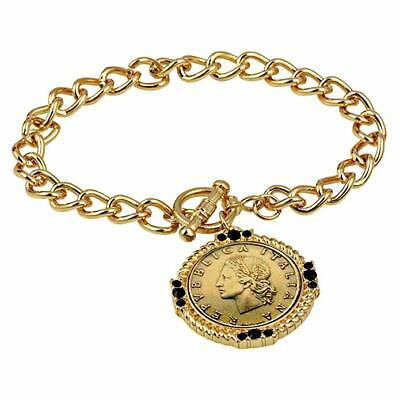 American Coin Treasures Italian 20 Lira Coin Toggle Charm Bracelet - Italian 20