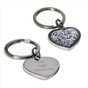 Personalised Diamante Heart Keyring-Free Laser Engraving - Mum / Birthday / Her