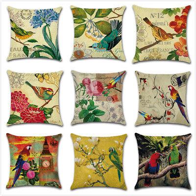 Parrot Bird Pillow Case Throw Ink Painting Sofa Decor Cotton Linen Cushion - Parrot Throw Pillow