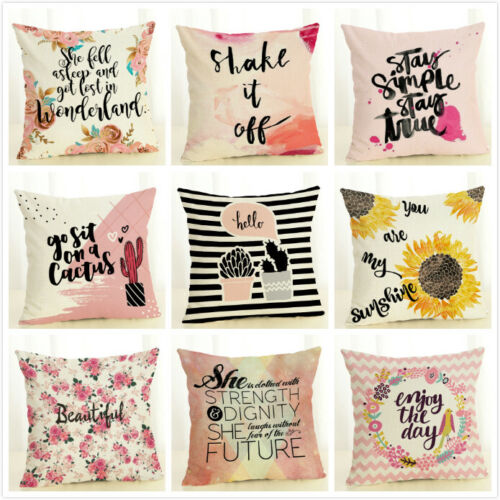 Throw Pillow Covers Case Pink Sweet Series Printed Letter De