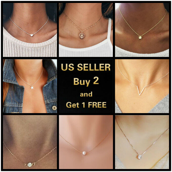 Jewellery - Simple Minimalist Choker Dainty Silver Gold Crystal Chain Pendant Necklace