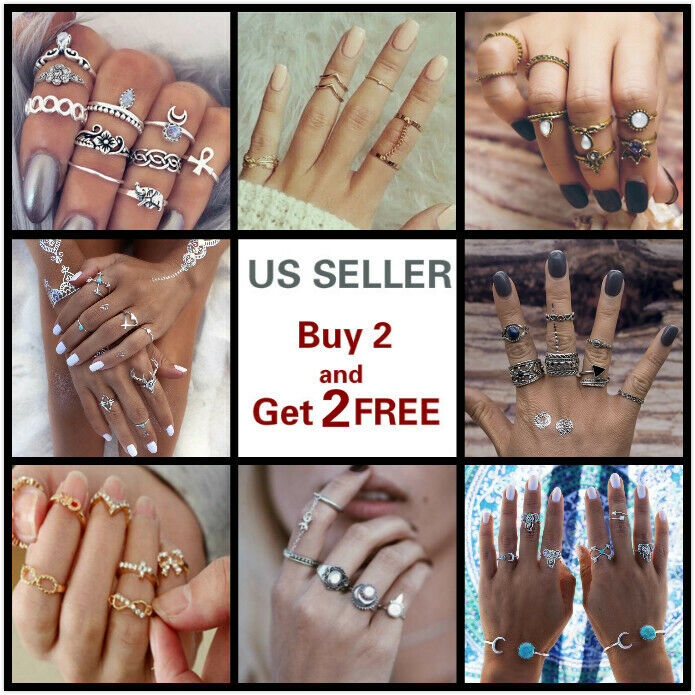 28 Styles Gold Silver Ring Set Above Knuckle stacking Band M