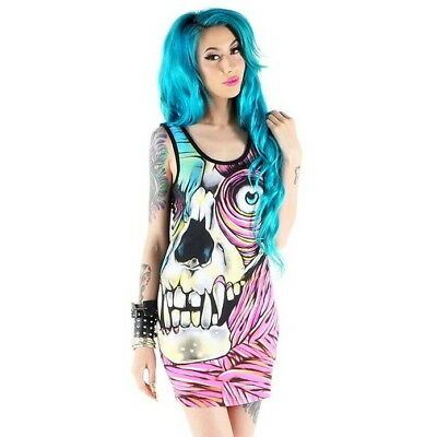 IRON FIST Skin Crawler Tank Dress Zombie Skull Black RARE NWT Ladies Womens - Skull Tank Kleid