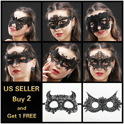Masquerade Ball Costumes For Women (Sexy Women Black Lace Eye Face Mask Masquerade Party Ball Prom Halloween)