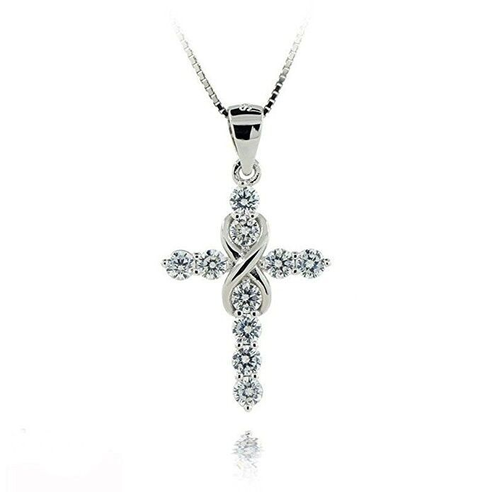 Women's 925 Sterling Silver CZ Crystal Cross Pendant 18″ Link Chain Necklace Fashion Jewelry