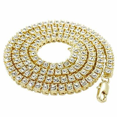 14k Yellow Gold ICED OUT Lab Diamond Mens 1 Row Tennis Chain Hip Hop Necklace (Hip Hop Gold Chain)
