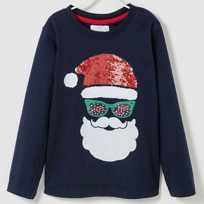 Blue Santa Clause (Boy's Santa Clause flip sequin shirt. Navy)