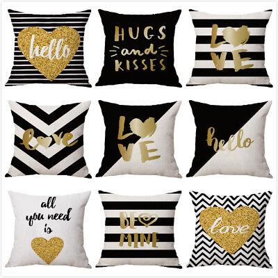 "18"" Bronzing Golden Letters Throw Sofa Pillow Case Car Cushion Cover Home Decor"