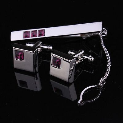 Mens Silver Square Crystal Business Shirt Wedding Cufflinks Or Slim Tie Clip Set