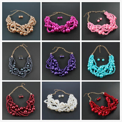 Resin Weave (Resin Pearl Necklace Multilayer Weave Fashion Chunky Wedding Bridal Jewelry)