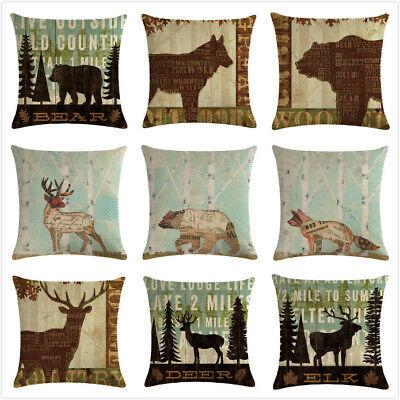 Cushion Covers Wildlife Elk Moose Bear Deer Pine Tree Forest Throw Pillow Case
