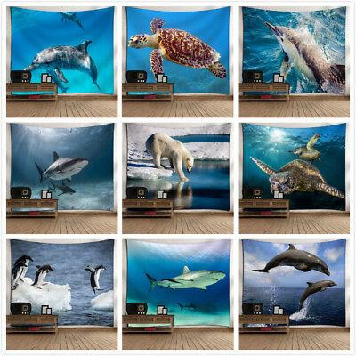 Shark Dolphin Tapestry Ocean Style Decor Wall Carpet Yoga Picnic Mat Beach Towel ()