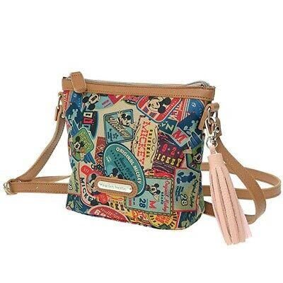 Disney Mickey Mouse Vintage Pattern Women Cross Shoulder Travel Tassel Handbag