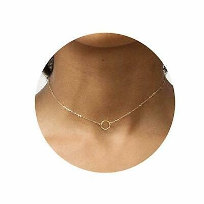 Fettero Necklace for Women Dainty Handmade 14K Gold Fill Carved New Circle (14k Gold Fill Necklace)