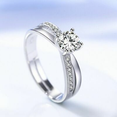 Women Girls Crystal Stone Adjustable Ring 925 Sterling Silver Jewellery Gift UK
