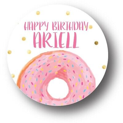30 Donut Sprinkles Birthday Party Favors Treat Bag Stickers -