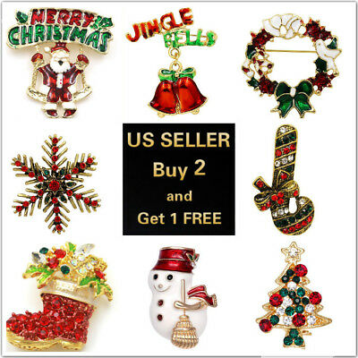 (20+ Styles Lux Christmas Brooch Pin Xmas Tree Snowman Bell Santa Claus Wreath)