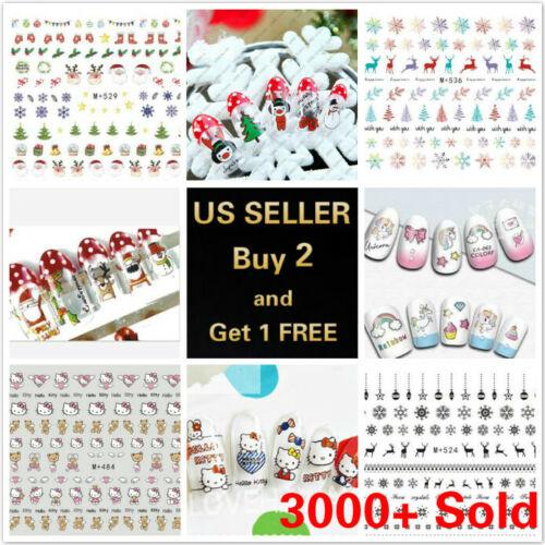 50+ Styles Nail Art Stickers Water Decals Cartoon Unicorn Christmas Halloween