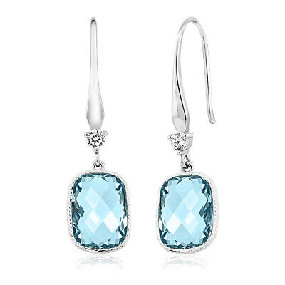Drop Earrings with Blue Aquamarine Pear Crystals from Swarovski Gold Plated