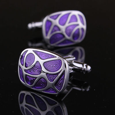 Purple+ silver Men's Cuff Links mens Dress Wedding party Gift Cufflinks