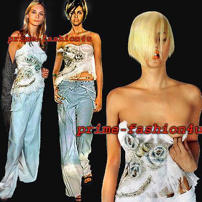John Galliano Christian Dior Floral Embroidered Applique Bustier Corset Top