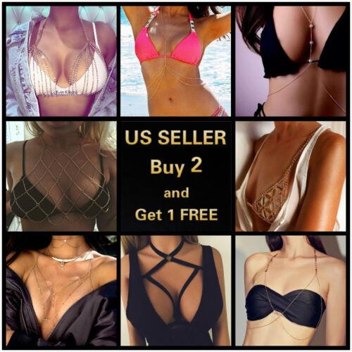 8 Styles Women Full Metal Body Chain Chest Crystal Rhinestone Harness Bra Bikini