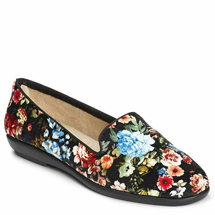 Aerosoles Women's Betunia Slip-on Loafer, Black Floral