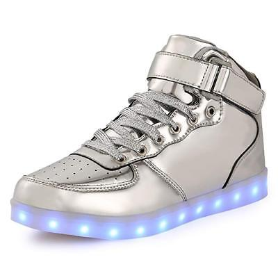 Kids Boy and Girls High Top Led Sneakers Light Up Flashing Shoes-Silver