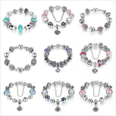Bamoer European Style 925 Sterling silver Charms bracelet With CZ Bead For Women