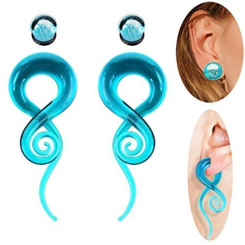4PCS Ear Gauges Glass Spiral Tapers Hanger Circle Plugs Stre