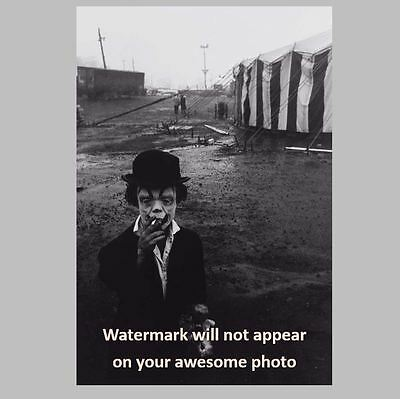 Scary Vintage Creepy Clown Smoking PHOTO Circus Freak Halloween Mask Costume (Scary Vintage Halloween Photos)
