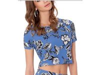 Beautiful Blue Floral Crop Top