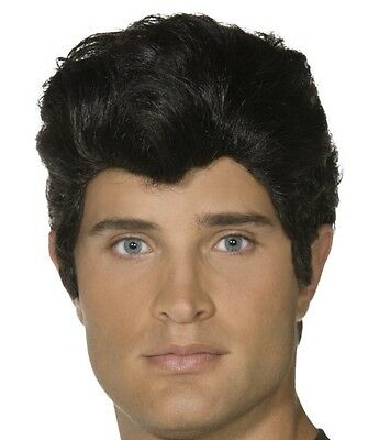 Mens Licensed 50s 1950s Danny from Grease Fancy Dress Wig Black New by Smiffys - Dresses From Grease