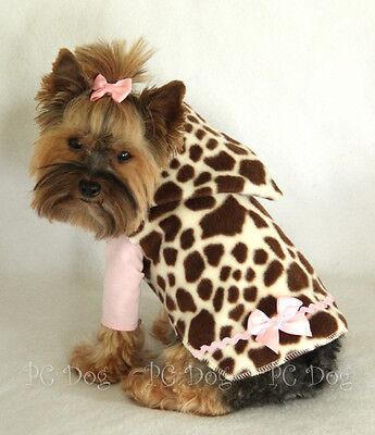 S New Giraffe Print Fleece Hoodie Dog Dress Clothes Pet Apparel Small