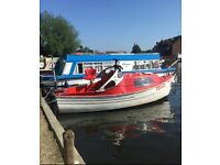 Seasafe Dandy Day/Weekender boat with 4 stroke outboard and trailer ready to go