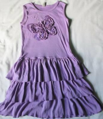NWOT Girl's Shift Dress Size 7 Purple Mignone Butterfly Ruffles 100% - Girls Butterfly Dress