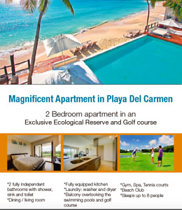 Playa del Carmen Mexico Exclusive Apartment in Ecological Reserv