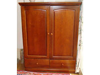 **Exceptional Tall Antique Solid Wood Wardrobe/TV Cabinet Mahogany**