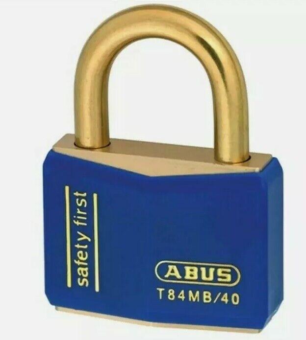 7pk Abus T84MB/40mm Blue Rustproof Padlock (T84MB-40-BLU) W/Keys and Cylinder