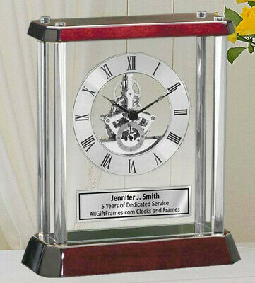 Desk Clock Silver Column Gear Dial Clock Encased Glass Cherry Base Executive