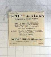 1925 The City Steam Laundry Cleaning And Dying Works, Oxford Road Gloucester -  - ebay.co.uk