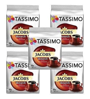 5 x Packs Tassimo Jacobs Monarch Medium Roast Coffee T Discs Pods - 80 Drinks