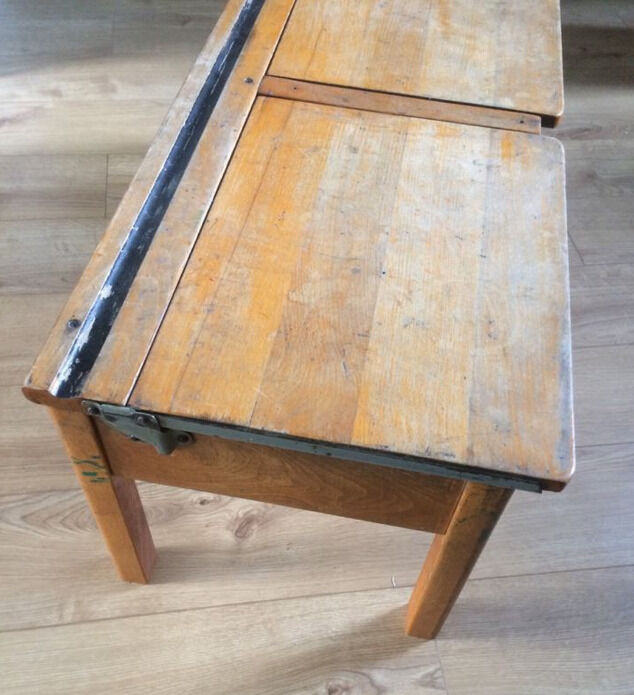 Upcycled Vintage Old Solid Wooden School Desk Coffee Table