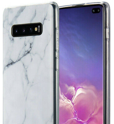 Samsung Galaxy S10+ Plus - Hard TPU Gummy Rubber Case Cover White Marble Pattern - White Gummy