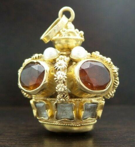 Vintage European Etruscan Revival 14K Gold, Citrine, Quartz, Pearl Crown Pendant