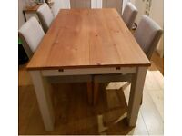 Dining table extending and 4 chair