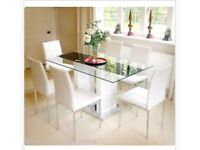 White Glass Top Dinning Table with 6 leather chairs