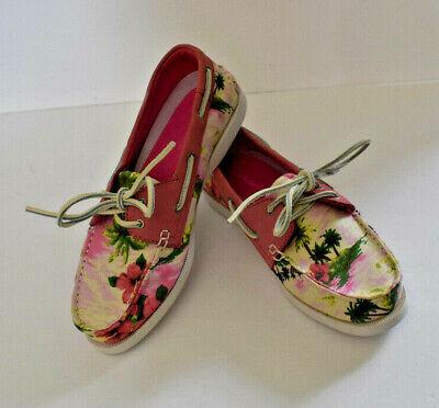 GH BASS Women's Cabo Boat Shoes Size 8 M Pink Floral Hawaiian Loafer Deck Flat, usado comprar usado  Enviando para Brazil